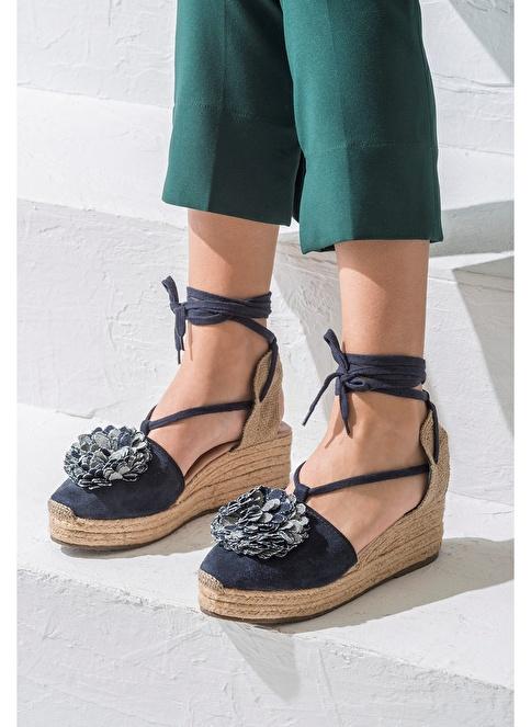 Elle Dolgu Topuklu Sandalet Lacivert